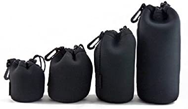 4 Pack 4 Size Neoprene Waterproof Camera Lens Protective Bag Lens Barrel Pouches for All Size DSL RC