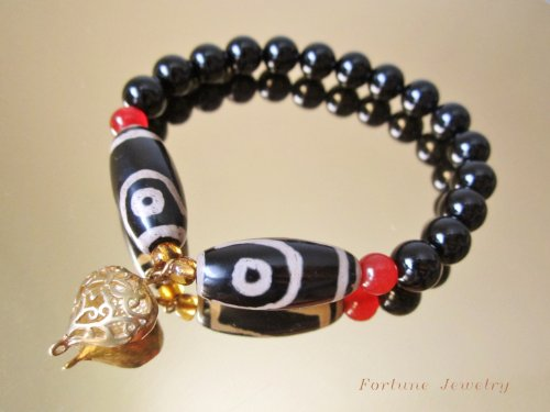 Harmony Twin Tibetan Dragon Eyes Protection Dzi Bead Bracelet, with 8mm Black Agate Beads and Unique 3D Love Hart Tibetan Brass Pendant – Fortune Jewelry Feng Shui Collection
