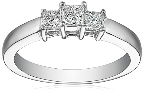 14k White Gold Princess-Cut 3-Stone Diamond Ring (1/2 cttw, I-J Color, I1-I2 Clarity), Size 8