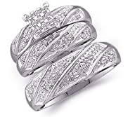 10k White Gold Mens and Ladies Couple His & Hers Trio 3 Three Ring Bridal Matching Engagement…