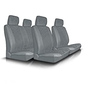 UNIVERSAL CAR SEAT COVER FOR MIDSIZE AND COMPACT CARS FULL SET - GREY