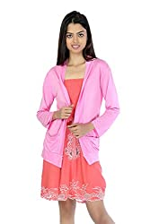 TeeMoods Womens Coral Tube Dress with Pink Shrug_TM-1106-L