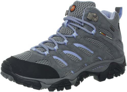 Merrell Women's Moab Mid Waterproof Hiking Boot,Grey/Periwinkle