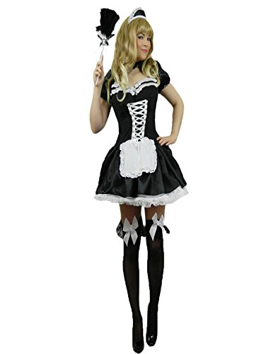 Yummy Bee French Maid Costume Womens Cosplay + Feather Duster Plus Size 4 - 20 (Women: 18-20)