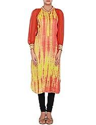 Kalki Fashion Orange And Yellow Kurti Featuring In Batik Print Only On Kalki Size- Large