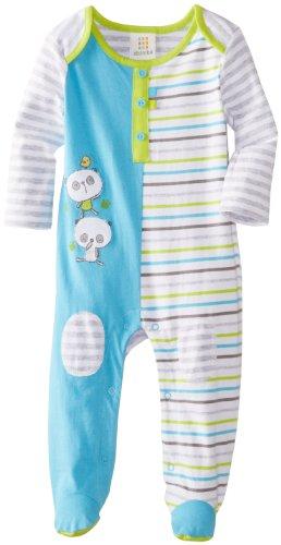 Absorba Baby-Boys Newborn Tender Touch Footie, Blue/Stripe, 0-3 Months front-805366