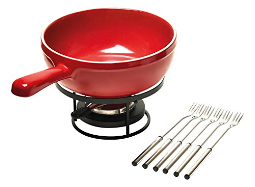 Emile Henry Made In France Flame Cheese Fondue Set, 2.6 quart, Burgundy