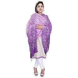 Soundarya Purple Shaded Bandhej Cotton Hand Work Dupatta