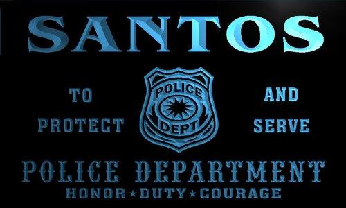tk497-b-santos-police-dept-department-badge-policemen-bar-beer-neon-light-sign