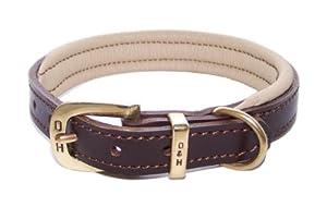 D&H Colours Leather Collar - Brown & Cream 2.5 x 42 cm (neck 26-34cm)