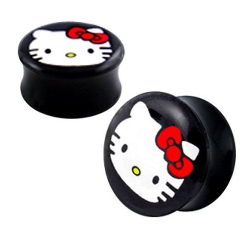3-mm-Hello-Kitty-UV-Double-Flared-Ear-Plug-in-Schwarz
