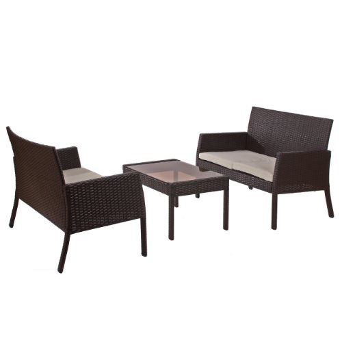 Mendler Poly-Rattan Garten-Garnitur Sitzgruppe Sanremo 2x Bank + Tisch ~ braun-meliert