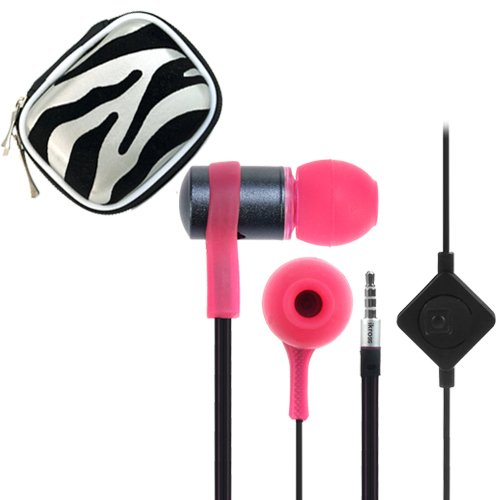Ikross Pink / Black In-Ear 3.5Mm Noise-Isolation Stereo Flat Cable Tangle Free Earbuds With Microphone + Silver Zebra Headset Case For Acer Aspire Switch 10, Iconia One 7, Tab 7 (A1-713), B1-720, A1-830, A3-A10, B1-710, W3-810, A1-810, Tab A211 Tablet Cel