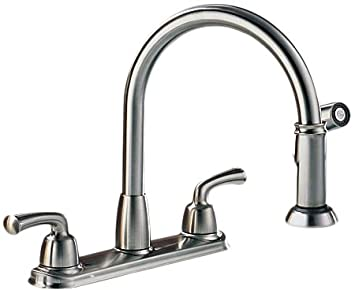 Delta 21916-SS Two Handle Kitchen Faucet With Spray, Stainless
