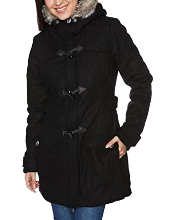 bench duffler b women s coat black marl large amazon co