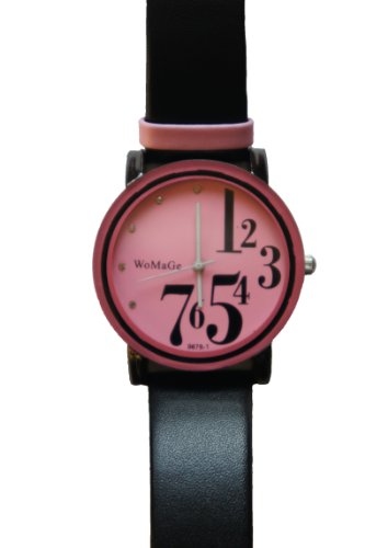 Pink Womage Fashion Watch  Leather Strap and