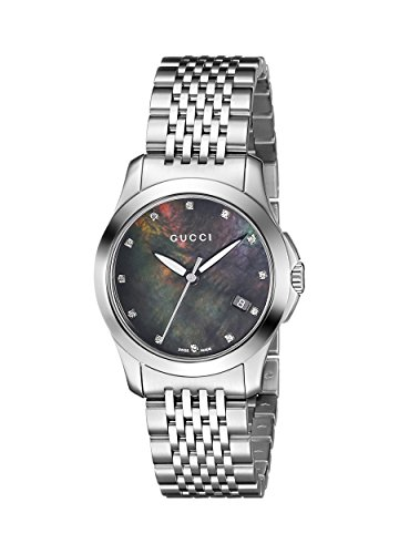 Gucci Women's YA126505 G-Timeless Diamond Marker Black MOP Dial Watch