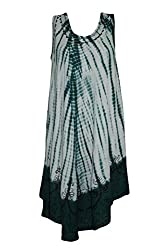 Indiatrendzs Women's Sleeveless Dress Embroidered Tie Dye Green Dress