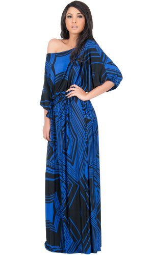 Koh Koh One Shoulder 3/4 Sleeve Graphic Print Long Versatile Cocktail Evening Maxi Dress – XX-Large – Saphire & Midnight Black