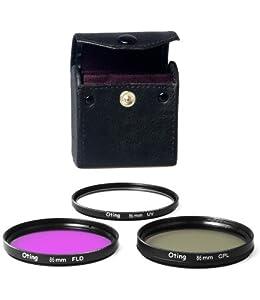 Set de 3 filtres 86mm Haute définition (filtre UV, filtre Fluorescent, filtre Polarisant) pour CANON EOS 1100D 1000D 650D 600D 550D 500D 450D 400D 350D 300D 1D 5D 6D 7D 30D 60D