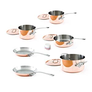 Mauviel M'Heritage Copper 150s 6100.04 10-Piece Set with Cast Stainless Steel Handle