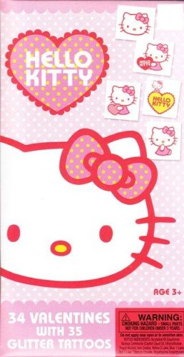 Hello Kitty 34 Valentines With 35 Glitter Tattoos