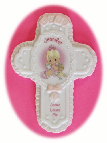 "Jesus Loves Me Personalized ""Jennifer"" Porcelain Wall Cross"
