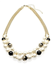 M&S Collection Pearl Effect & Bead Necklace
