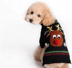 Tiny Small Dog Puppy Sweater Clothes Christmas Reindeer Pattern by Generic