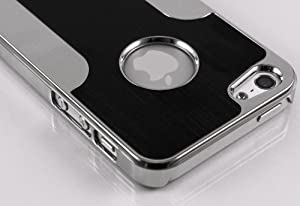 Pandamimi iPhone 5 case - Deluxe Black Metal Aluminum Chrome Hard Case Cover for Apple iPhone 5 5G + Screen Protector + Stylus