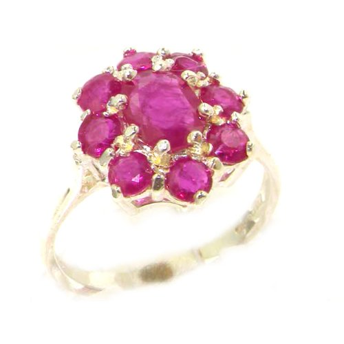 Luxury Ladies Solid Sterling Silver Genuine Natural Ruby Cluster Ring - Size 12 - Finger Sizes 5 to 12 Available - Suitable as an Anniversary ring, Engagement ring, Eternity ring, or Promise ring