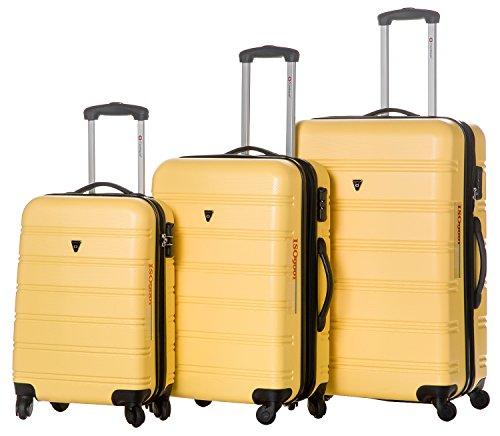 Merax Travelhouse Luggage 3 Piece Expandable Spinner Set Yellow Best Luggage Store