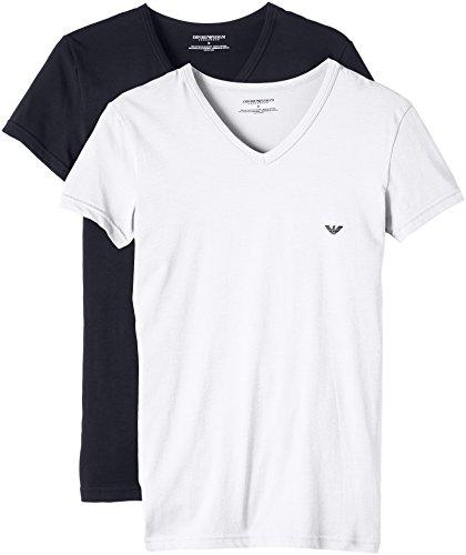 Emporio Armani Underwear - 111512CC717, Canotta da uomo, multicolore (mehrfarbig  (bianco/marine 10410)), L