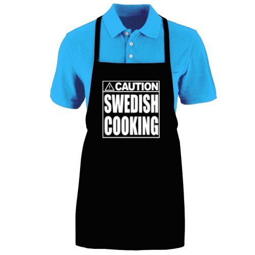 Funny CAUTION - SWEDISH COOKING Apron; One Size Fits Most - Medium Length Kitchen Aprons for Men, Women, Teen, & Kids (Unisex); Soft Cotton Polyester Mix with DuPont Teflon Fabric Protector. Great gift idea. andao one size fits all