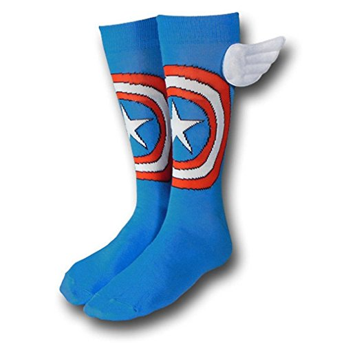 Marvel Comics CAPTAIN AMERICA Logo Blue WINGED CREW SOCKS