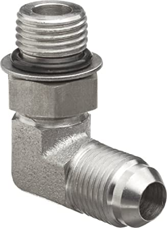 "Brennan 6801-06-06-NWO-SS, Stainless Steel JIC Tube Fitting, 06MJ-06MAORB 90 Degree Elbow, 3/8"" Tube OD x 9/16""-18 O-ring Boss, Male"