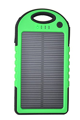 Sunnice® Weatherproof Solar Phone Charger. External Battery Pack for Iphone, Android, Galaxy, Ipod. Portable Phone Charger with High Capacity Power Bank (5.000 Mah). This Portable Cell Phone Charger Is Water-resistant, Dustproof and Shockproof. Great for Outdoor Use (Boating, Hiking, Camping, Beach). The Power Bank Can Be Charged Via the Solar Panel or Through an External Power Source (Usb Ac Adapter). You May Also Use It As an Ipad Solar Charger or Power Bank. (Green)