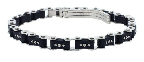 Unisex Designer Stainless Steel Black Bicycle Link Bracelet 7
