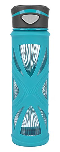 Zulu Core Glass Water Bottle with Quick-Cap Lid, Teal, 20 oz