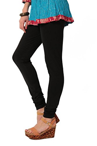 Women's solid Black Cotton-Lycra Leggings/Churidars