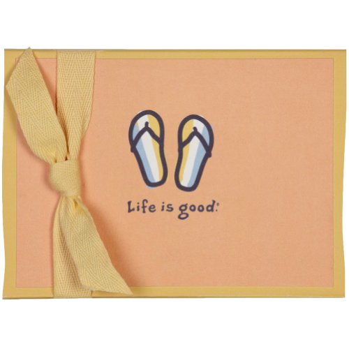 Life Is Good. Blank Note Cards - Striped Flip Flops - Tangerine Orange front-249648