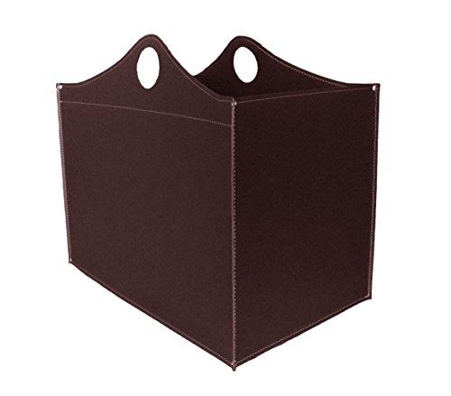 WOODBAG: borsa in cuoio portalegna e/o pellet, in cuoio rigenerato colore Testa di Moro, con ruote gommate.