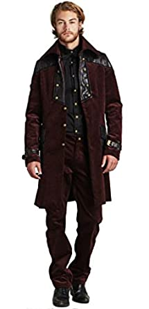 Steampunk Men's Coats Steampunk Vintage Corduroy Jacket Coat $99.99 AT vintagedancer.com