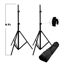 CowboyStudio Two 9 feet Heavy Duty Spring Cushioned Photo Light Stands with Carrying Case