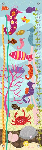 Oopsy Daisy Growth Charts Pretty Ocean Lesley Grainger, Blue Pink, 12 x 42""