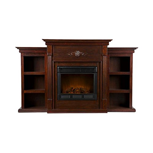 Dorothy Espresso Electric Fireplace Mantle W/ Bookcases Tv Stand