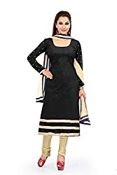 Black velvat Embroidered Unstitched Dress Material