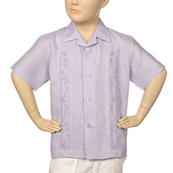 Boys irish linen shirt in lavender short sleeve.