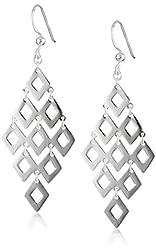 Sterling Silver Large Diamond-Shape Drop Earrings