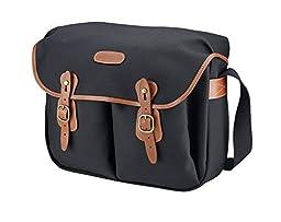 Billingham Hadley Large, SLR Camera System Shoulder Bag, Black Canvas with Tan Leather Trim and Brass Fittings